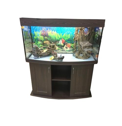 панорамный аквариум 300 литров с тумбой
